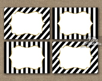 Black Labels - Black White Food Labels - Black & White Party Decorations - Black Gold Gift Tags Nametags - Baby Bridal Shower Tags BGL