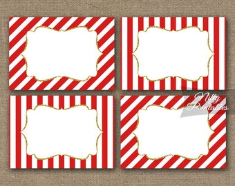 Red Labels - Red Gift Tags - Printable Red Gold Name Tags - Red Favor Tags - Red White Stripe Blank Labels - Red White Party Decorations RGL
