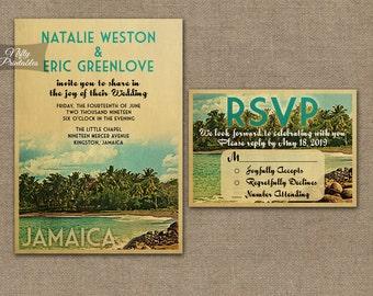 Jamaica Wedding Invitation - Printable Vintage Jamaica Island Wedding Invites - Retro Tropical Wedding Suite or Solo VTW