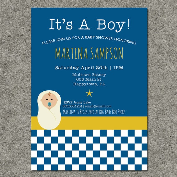 Printable Baby Shower Invitations - It's A Boy Blue Checkerboard - Digital DIY invite