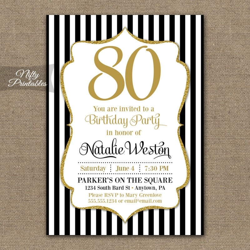 80th Birthday Invitations Black Gold Glitter 80 Year