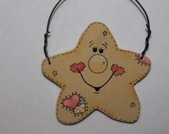 Tole Painted Wood Star Ornament