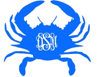 monogram crab vinyl decal glitter crab monogram car monogram vinyl letters monogram outdoor vinyl car crab monogram