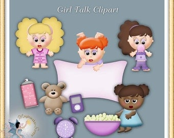 Slumber Party Clipart, Girl Talk Commercial Use