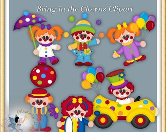 Clown birthday party clipart, digital scrapbook for commercial use