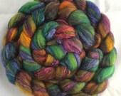 Khal Drogo - hand dyed roving for spinning/felting, BFL Tussah Silk, brown purple green blue orange 100g