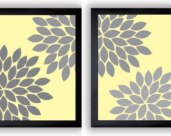 INSTANT DOWNLOAD Yellow Grey Gray Chrysanthemum Flowers Set of 2 Art Printable Abstract Flower Print Wall Decor Modern Minimalist Bathroom