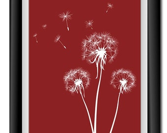 INSTANT DOWNLOAD Burgundy Rust Red White Dandelion Printable Art Digital Print Wall Decor Bathroom Bedroom Custom Modern Miminimalist Flower