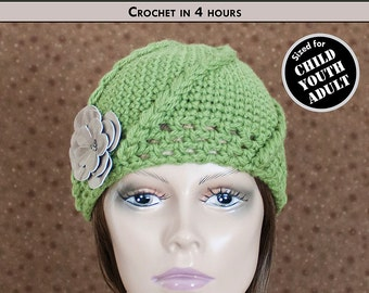 SLEEK SWIRL Child, Youth & Adult Crochet Hat Pattern [Digital File Download]
