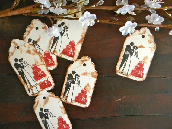 Vintage Wedding Gifts For Bride And Groom : Wedding Gift Tags, Bride and Groom Tags, Red Wedding Theme, Vintage ...
