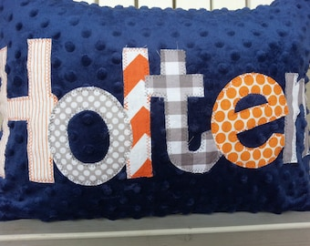 personalized applique name pillow- minky name throw pillow-boys navy minky throw pillow-kids minky name throw pillow