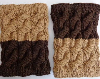 Knitted Boot Cuffs Reversible 2 in 1 Brown and Dark Brown - Boot Socks Boot Topper Leg Warmer Or Choose Your Color