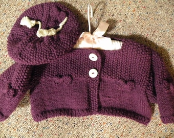 Knitted Tam and Cropped Cardi Set.. Eggplant in color  with little bows...just adorable