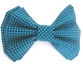 Dog Collar Bow Tie Small Medium Large Removable Blue and Black Checkered Bow Tie