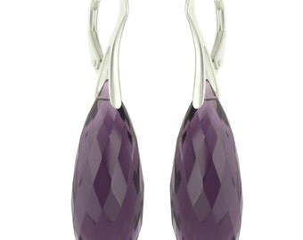 925 Sterling Silver Huge Briolette Natural Amethyst Leverback Earrings