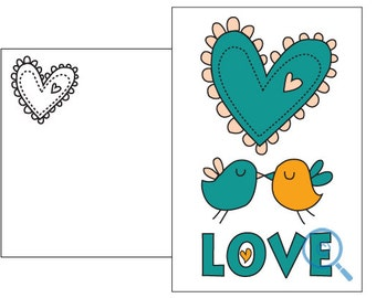 Love birds postcard card