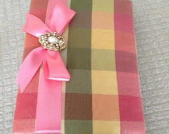 Plaid Fabric Covered Photo Album Adorned with Coordinating Ribbon and Decorative Brooch