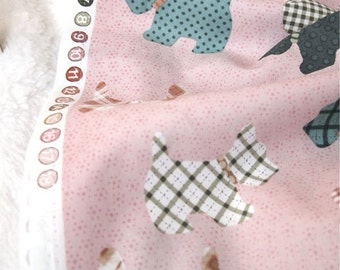 Cotton Fabric Cute Terrier Indi Pink By The Yard
