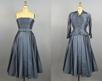 50s Sharkskin Rockabilly Dress w/ Jacket / 1950s Party Dress / 50s Dress
