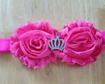 hot pink double shabby princess tiara headband