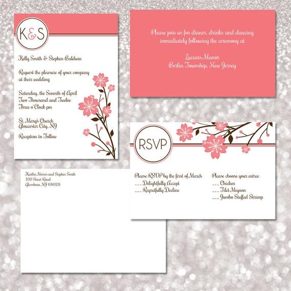 cherry blossoms monogram wedding invitation template set. Black Bedroom Furniture Sets. Home Design Ideas