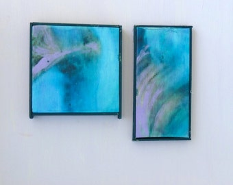 Modern abstract aqua paintings acrylic on canvasdollhouse miniature 1/12 scale