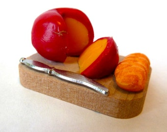 Bread Board wooden with Bread, Cheese, and knife included  dollhouse miniature 1/12 scale