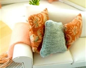 throw pillows - 2 peach 1 teal dollhouse miniature