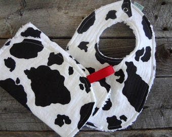 Chenille Bib and Burp Cloth Set-Gender Neutral-Cow Print