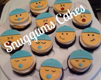 12 Baby Face Fondant Cupcake Toppers Personalized