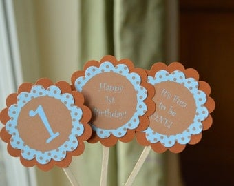 Polka Dot Cupcake Toppers - It's Fun To Be One - Blue and Brown -  Set of 12