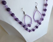 Handmade genuine amethyst and purple glass bead necklace and earring set