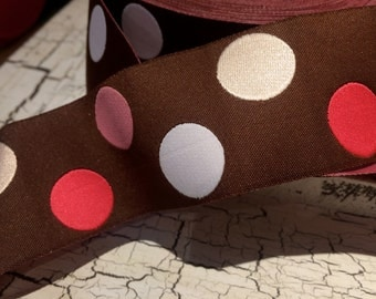 "3 YARDS Preppy Jacquard 1.5"" Multi Colored Polka Dot Woven Ribbon Brown Pink and more"