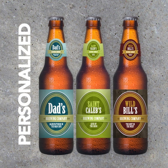 Personalized Beer Bottle Labels – Brewing Company Labels with YOUR Name, Date and Tagline – Printable File – Party Favors – Gifts for Him