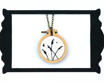 Meadow silhouette illustration miniature hoop hand embroidered necklace