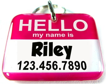 Hello My name is Personalized Custom ID Tags for dogs and cats Double Sided pet tags