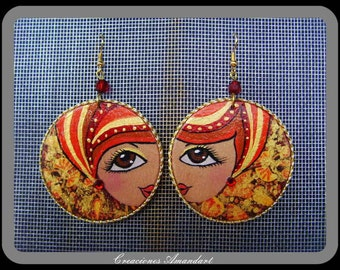 Earrings GIZA- hand painted wood