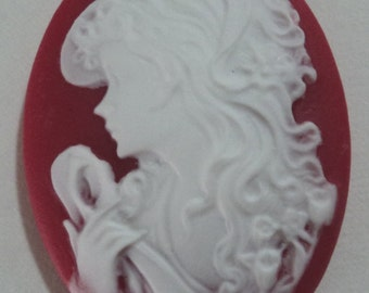 40mm x 30mm Oval resin cameos lady with long hair white on red 2 pcs l