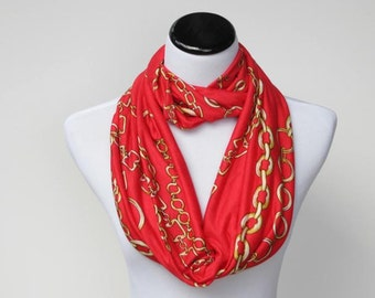 Red infinity scarf gift for Mothres day circle jersey knit scarf bright loop scarf gift idea for her - gift for mom gift for her