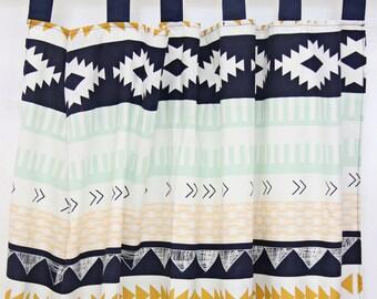 Aztec Gold & Mint Curtain Panels