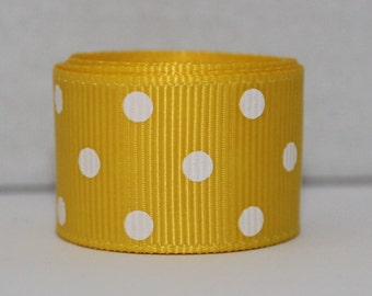 "3 YDS Grosgrain Ribbon 7/8"" White Polka Dots on Yellow"