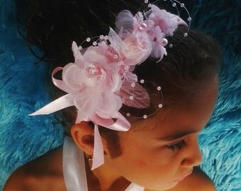 pink perfect for wedding flower girl little girl baby headband headpiece flower