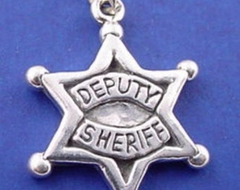 DEPUTY SHERIFF Charm, Police Officer BADGE, Star .925 Sterling Silver Charm