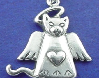CAT ANGEL With HEART Charm .925 Sterling Silver Pendant - t01696