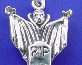 DRACULA Charm .925 Sterling Silver Vampire and Tombstone, HALLOWEEN Monster Pendant - lp2850