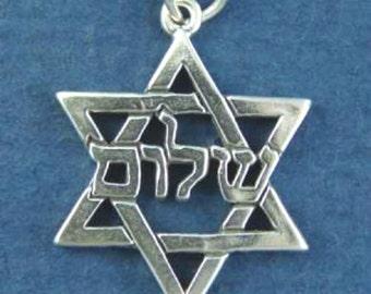 JEWISH STAR Of David Charm, Hebrew Shalom .925 Sterling Silver Charm or Pendant
