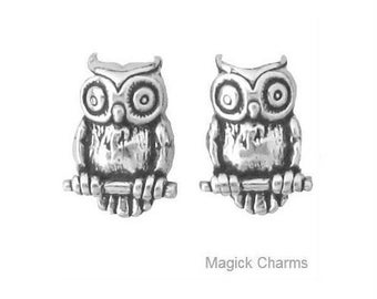 OWL Bird EARRINGS, Post Stud .925 Sterling Silver