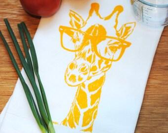 Yellow Giraffe Flour Sack Tea Towel - Screen Printed Flour Sack Tea Towel - Wedding Gift - Kitchen Accessories - African Theme