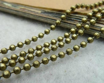 10 M  -  spool of high quality antiqued brass faceted ball chain 2mm -No.E1032