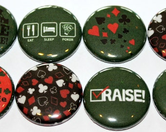 I Love Poker! Flat Back Button Flair Set